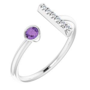 14K White Amethyst & .05 CTW Diamond Bar Ring