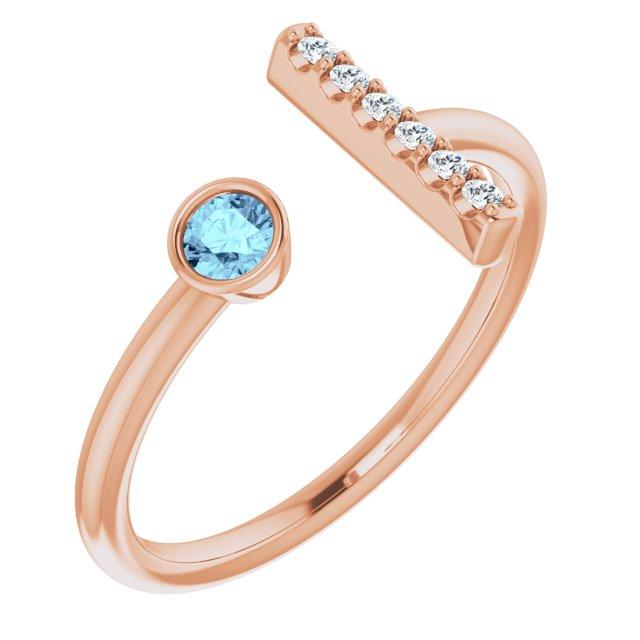 14K Rose Aquamarine & .06 CTW Diamond Bar Ring