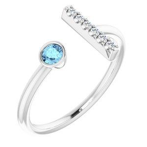 14K White Aquamarine & .06 CTW Diamond Bar Ring