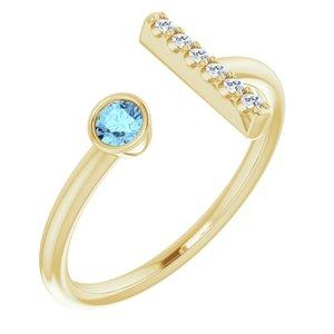 14K Yellow Aquamarine & .06 CTW Diamond Bar Ring