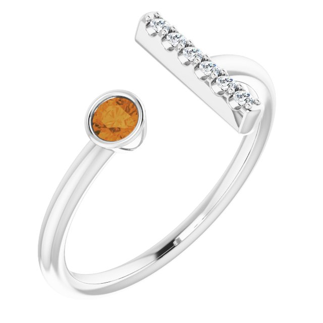 14K White Citrine & .05 CTW Diamond Bar Ring