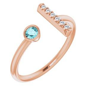 14K Rose Blue Zircon & .05 CTW Diamond Bar Ring