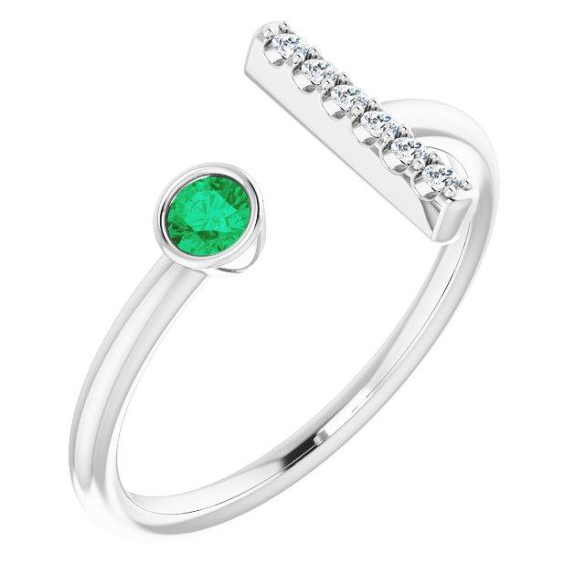 Sterling Silver Emerald & .05 CTW Diamond Bar Ring