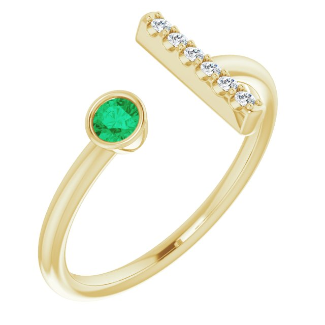 14K Yellow Lab-Grown Emerald & .05 CTW Diamond Ring