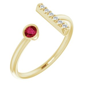 14K Yellow Ruby & .05 CTW Diamond Bar Ring