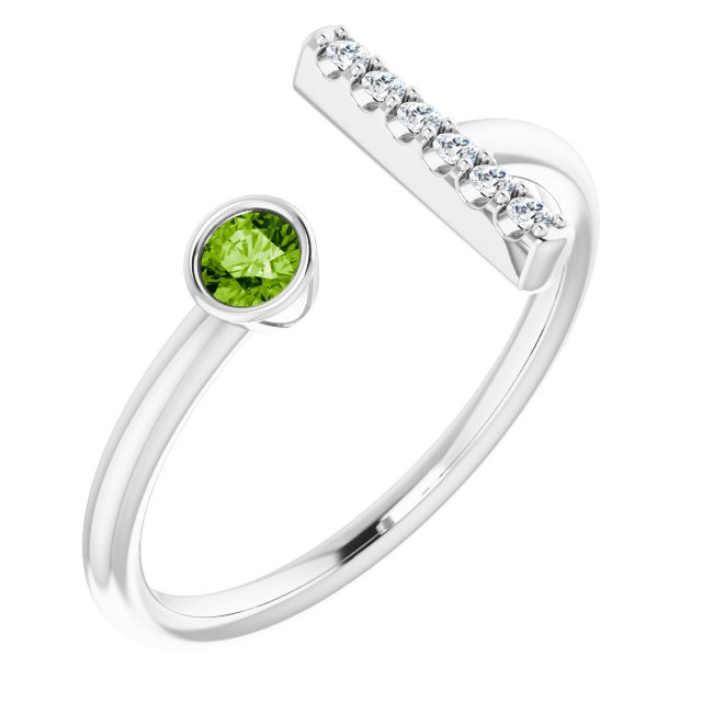 14K White Peridot & .05 CTW Diamond Bar Ring