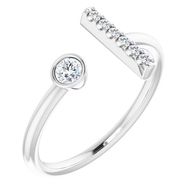 14K White 1/6 CTW Diamond Bar Ring