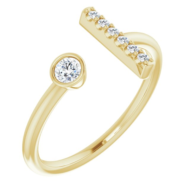 14K Yellow 1/6 CTW Diamond Bar Ring