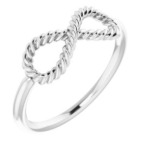14K White Infinity-Inspired Rope Ring