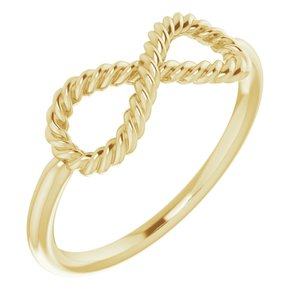 14K Yellow Infinity-Inspired Rope Ring