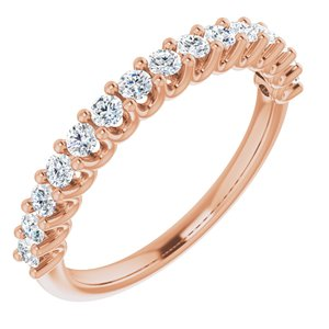 14K Rose 2 mm Round 1/2 CTW Diamond Anniversary Band
