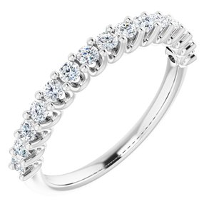 14K White 2 mm Round 1/2 CTW Diamond Anniversary Band