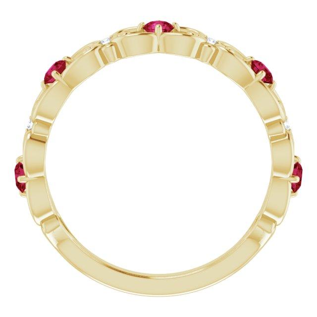 14K Yellow Lab-Grown Ruby & .02 CTW Diamond Vintage-Inspired Scroll Ring