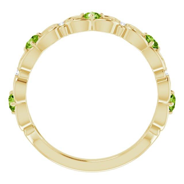 14K Yellow Peridot & .02 CTW Diamond Vintage-Inspired Scroll Ring