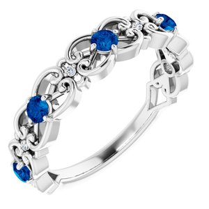 14K White Chatham® Created Blue Sapphire & .02 CTW Diamond Vintage-Inspired Scroll Ring