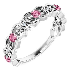 14K White Pink Tourmaline & .02 CTW Diamond Vintage-Inspired Scroll Ring