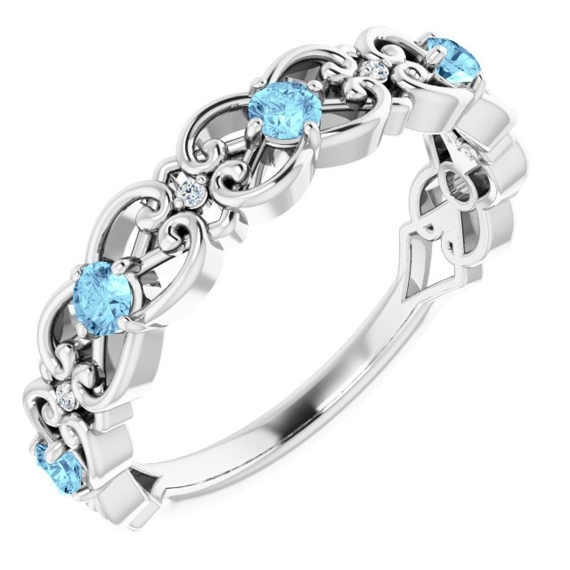 14K White Aquamarine & .02 CTW Diamond Vintage-Inspired Scroll Ring