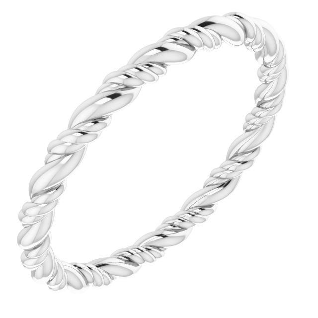 14K White Rope Band Size 7.5