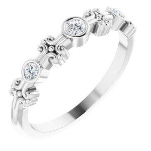 14K White .10 CTW Diamond Bezel-Set Ring