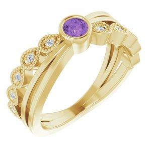 14K Yellow Amethyst & .05 CTW Diamond Ring
