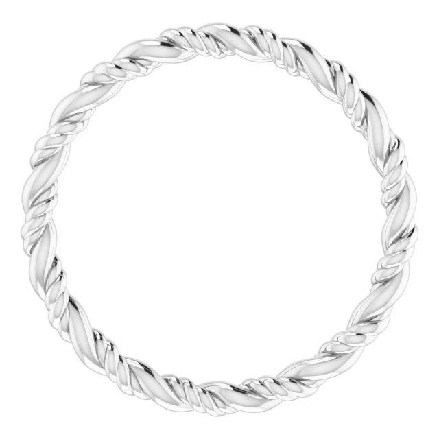 14K White Rope Band Size 8