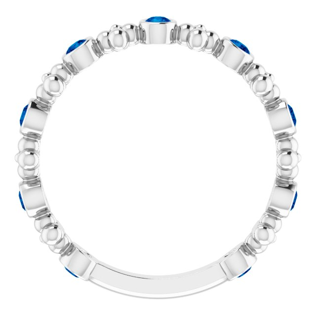 14K White Chatham® Created Blue Sapphire Beaded Ring