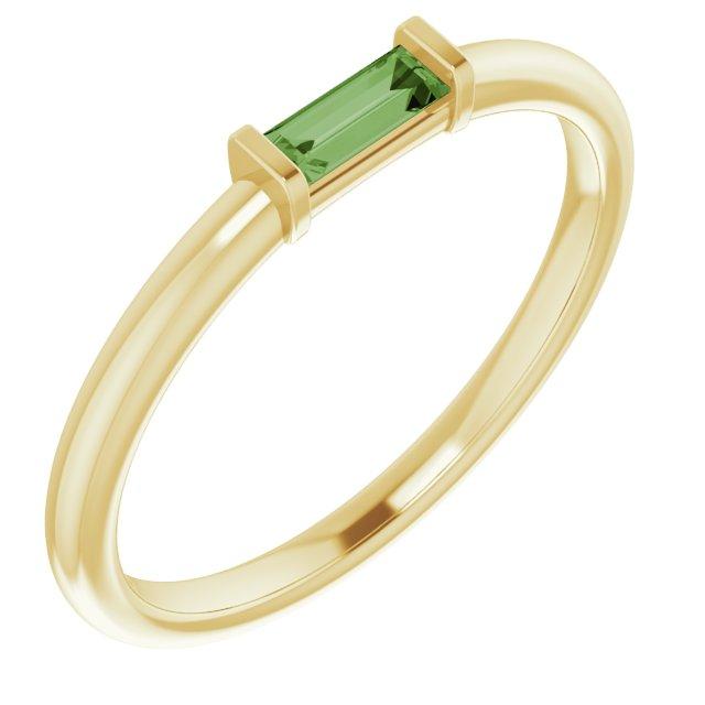 14K Yellow Green Tourmaline Stackable Ring