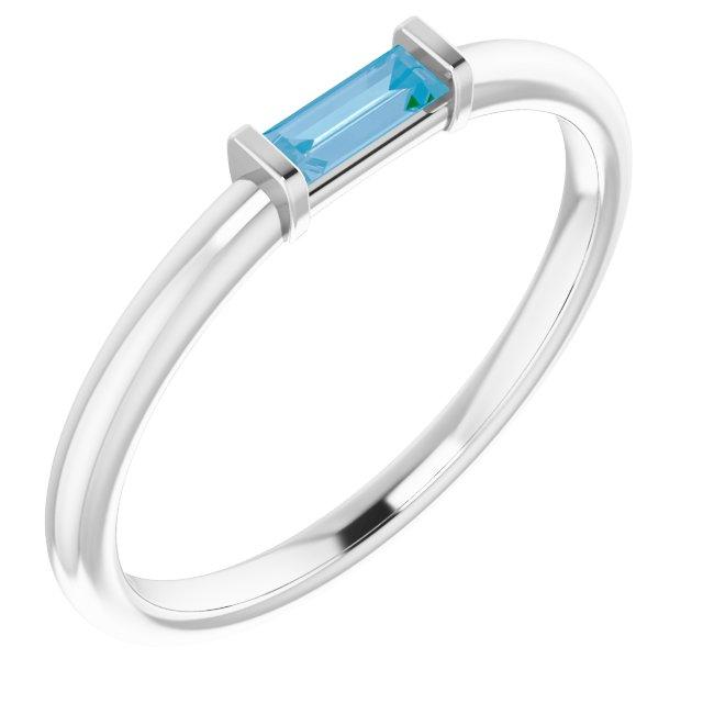 14K White Sky Blue Topaz Stackable Ring