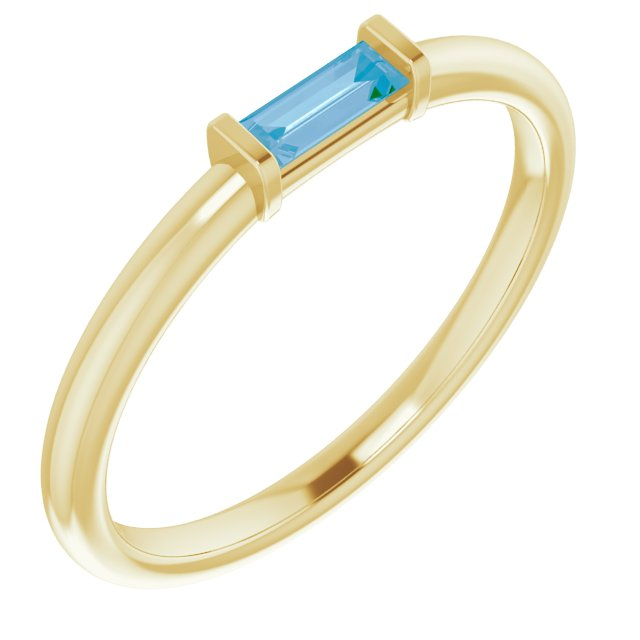 14K Yellow Swiss Blue Topaz Stackable Ring