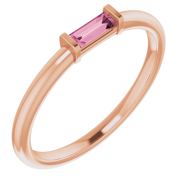 14K Rose Pink Tourmaline Stackable Ring