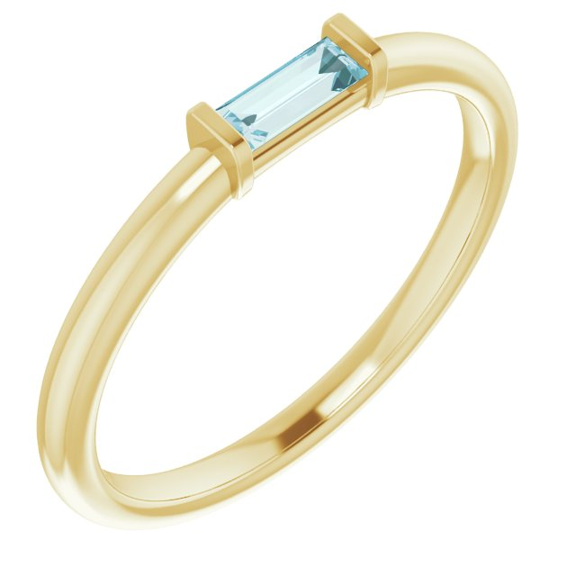 14K Yellow Sky Blue Topaz Stackable Ring