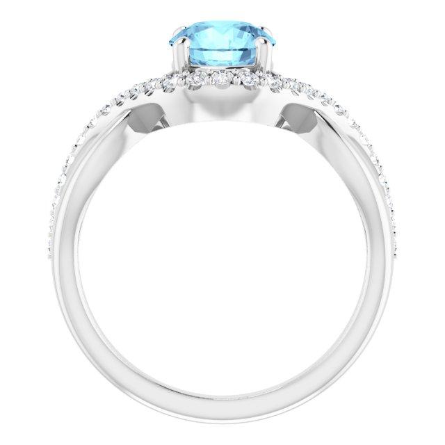 14K White 6.5 mm Round Aquamarine & 1/5 CTW Diamond Ring