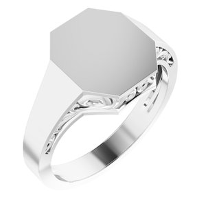 14K White 13x12 mm Octagon Signet Ring