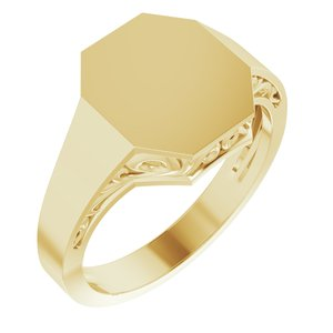14K Yellow 13x12 mm Octagon Signet Ring