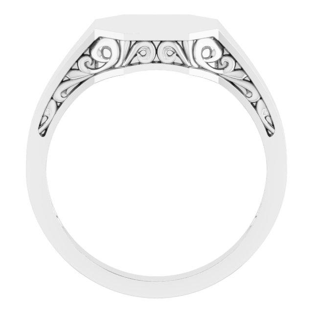 14K White 13x12 mm Octagon Signet Ring