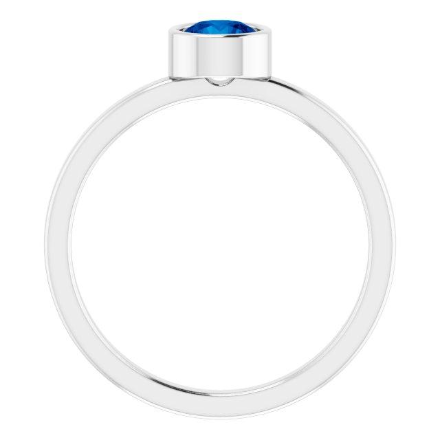 14K White 5 mm Round Lab-Grown Blue Sapphire Ring