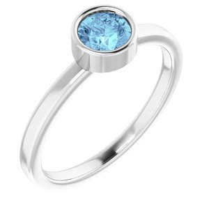 Rhodium-Plated Sterling Silver 5 mm Round Aquamarine Ring