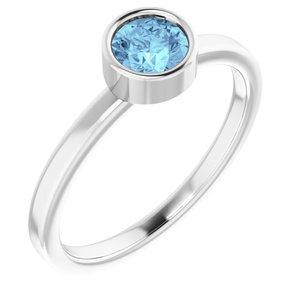 14K White 5 mm Round Aquamarine Ring