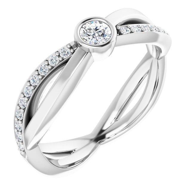 14K White 3.4 mm Round 1/3 CTW Diamond Infinity-Inspired Ring