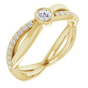 14K Yellow 3.4 mm Round 1/3 CTW Diamond Infinity-Inspired Ring