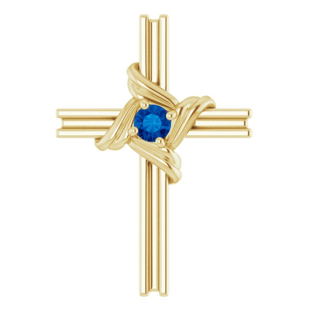 14K Yellow Blue Sapphire Cross Pendant
