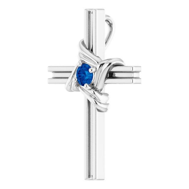 Sterling Silver Blue Sapphire Cross Pendant