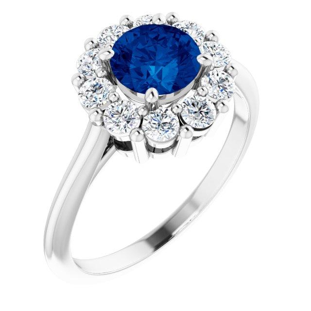 14K White Lab-Grown Blue Sapphire & 1/2 CTW Diamond Ring