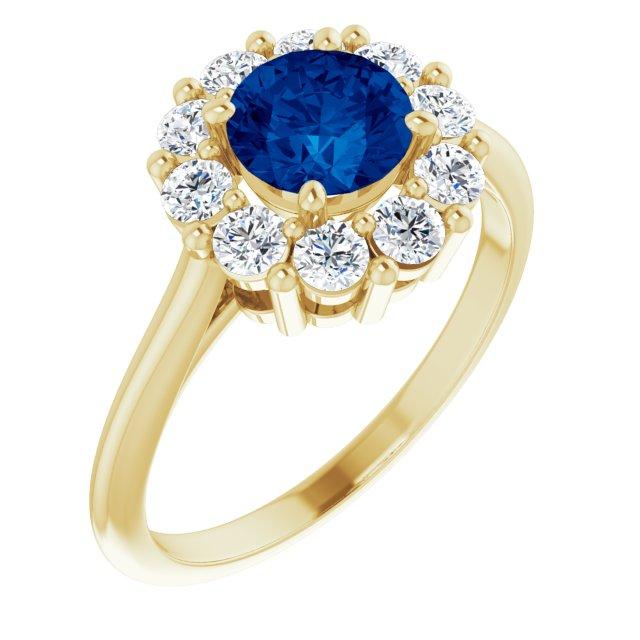 14K Yellow Lab-Grown Blue Sapphire & 1/2 CTW Diamond Ring
