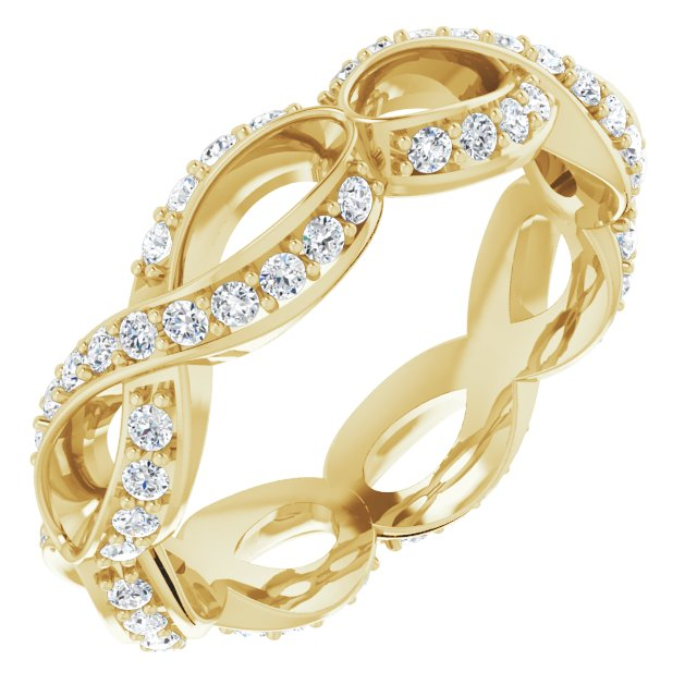14K Yellow 1/2 CTW Diamond Sculptural-Inspired Eternity Band Size 7