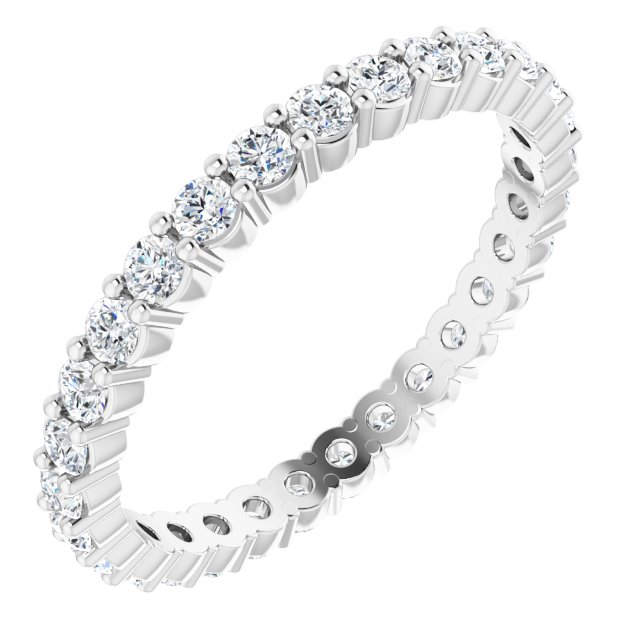 14K White 5/8 CTW Diamond Eternity Band Size 6.5