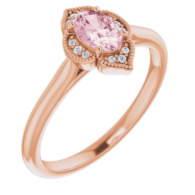 14K Rose Morganite & .03 CTW Diamond Ring