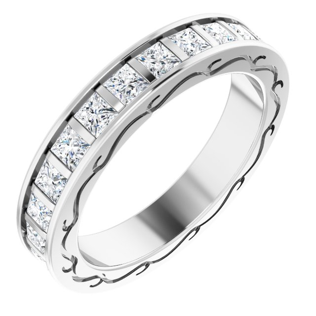 14K White  2 1/3 CTW Diamond Square Band Size 7