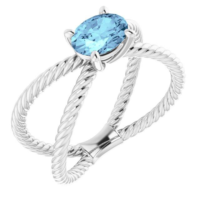 14K White Aquamarine Rope Ring