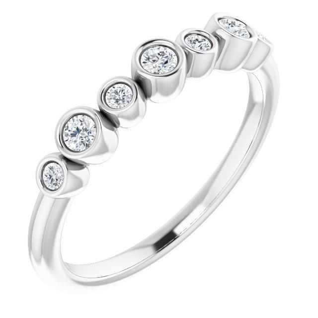 14K White .08 CTW Diamond Bezel-Set Ring